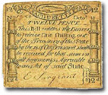 Billete de 1 chelín, Massachusetts, 1776